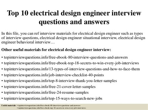 design engineer interview top 10 electrical design engineer interview questions and