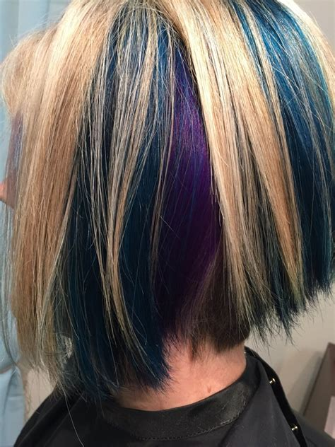 accent highlights light blonde highlights with teal and violet jewel toned