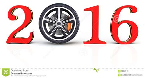 new year wheel 2016 3d happy new year 2016 with car wheel stock illustration