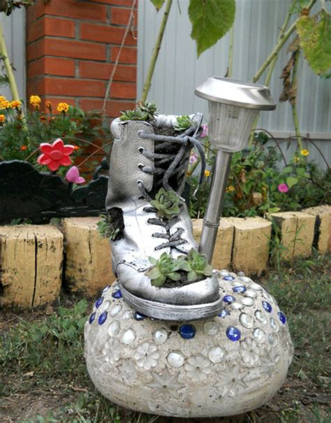 garden home decor diy home garden decor idea with a shoe planter and succulents