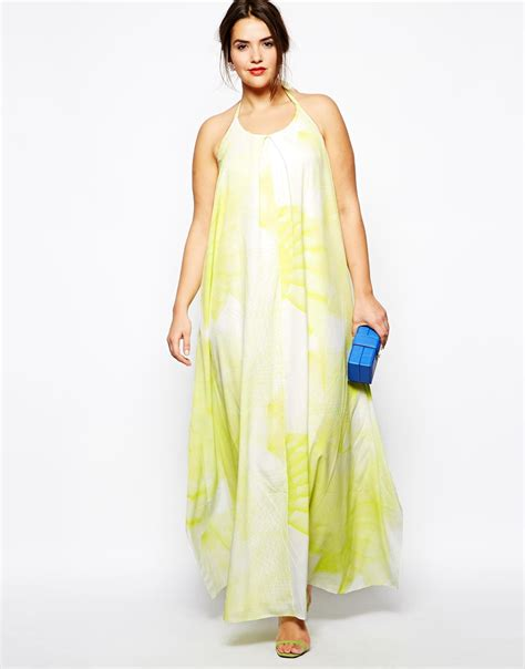 More Darimeya In Stock At Asoscom by Asos Curve Maxi Dress In Graphic Print In Green