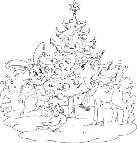 animals around tree coloring page coloring com