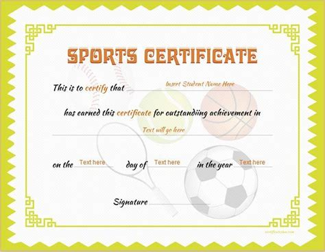 sport certificate templates for word sports certificate template for ms word at http