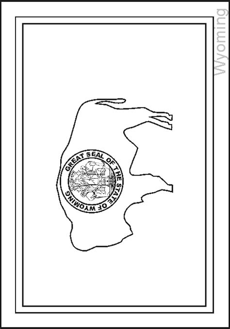 wyoming state flag coloring pages usa for kids