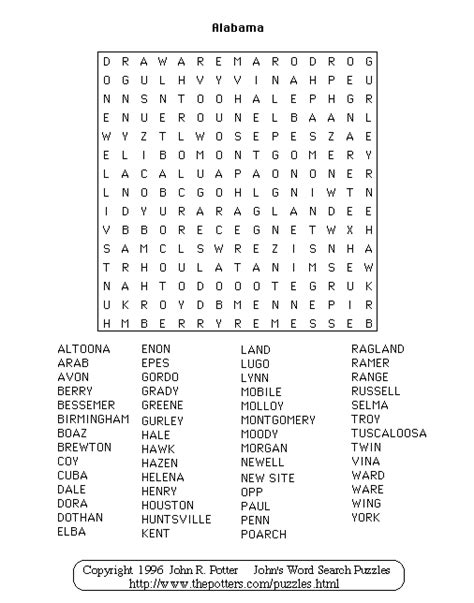 Of Alabama Search Alabama Word Search