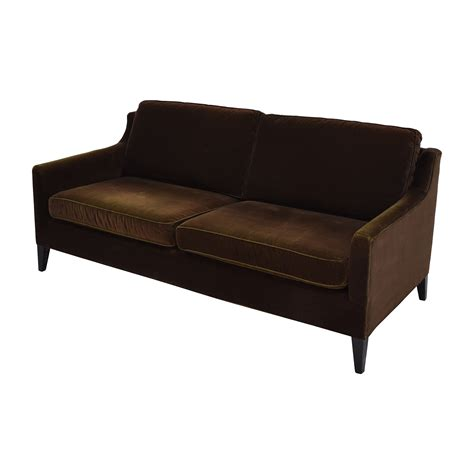 brown velvet sofa 79 off dark brown velvet two cushion sofa sofas