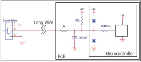 a capacitor used for spike protection will normally be placed in to the load or circuit interference microcontroller with a wire for digital input electrical engineering stack