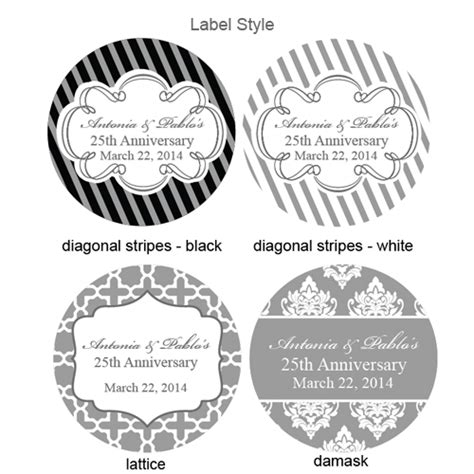 Silver Wedding Anniversary Giveaways - silver wedding anniversary personalized round labels 20 pcs 25th 50th
