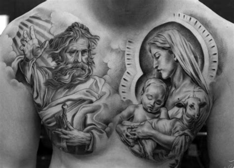 chest tattoos for men religious 40 jesus chest designs for chris ink ideas