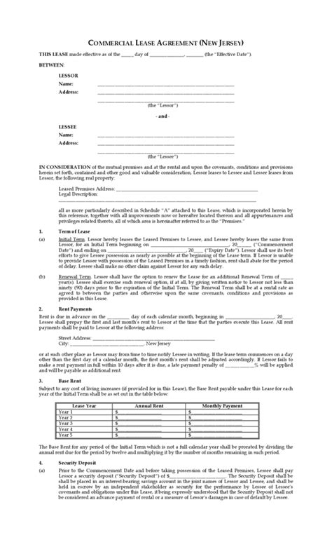 1 year lease agreement nj nj lease agreement pdf new jersey residential lease