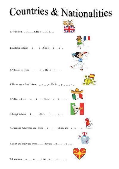 Nationalities In Worksheet by Countries And Nationalities Teaching