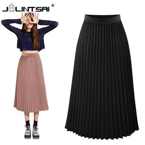 excellent pleated chiffon skirts summer high