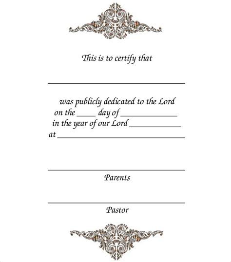 baby dedication card template baby dedication certificate template 21 free word pdf