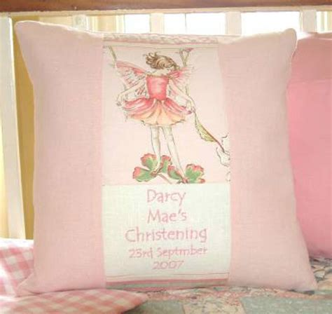 tuppenny house designs flower fairy pink christening cushion by tuppenny house designs notonthehighstreet com
