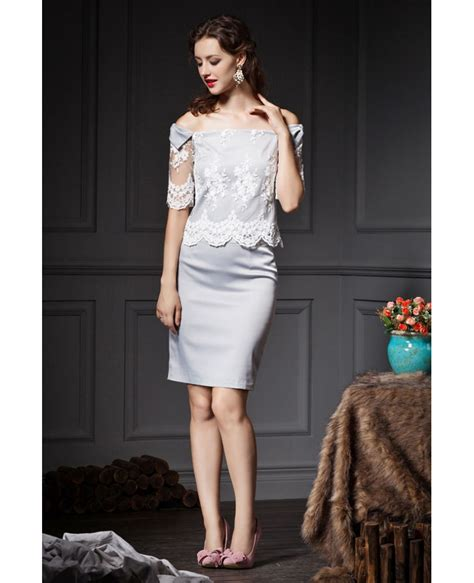 light grey dress wedding guest grey sheath off the shoulder lace wedding guest dress