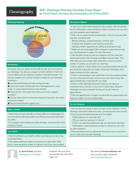 snf discharge planning checklist sheet by davidpol