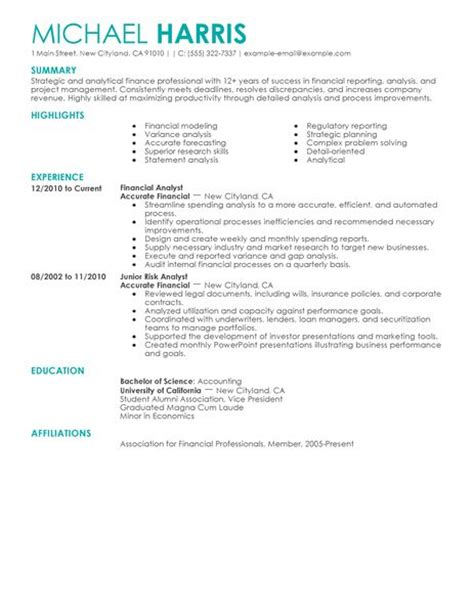 accounting finance resume exles accounting finance sle resumes livecareer