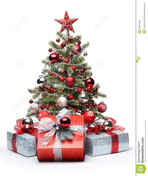 decorated christmas tree  gifts royalty  stock