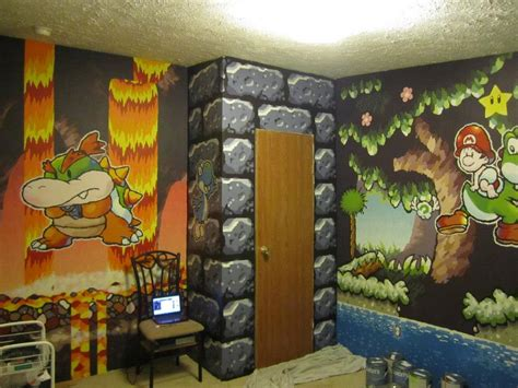 mario themed bedroom paints awesome mario themed room for a friend technabob