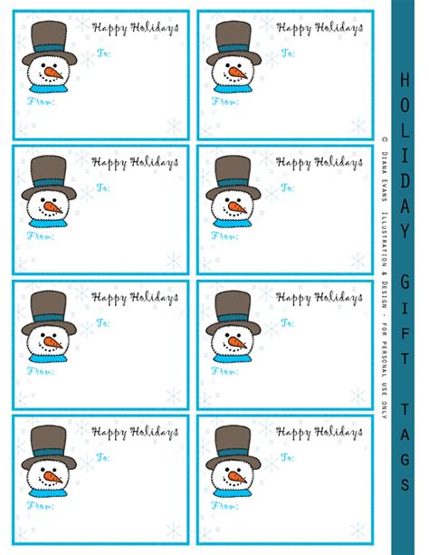printable snowman gift tags diana evans illustration and design paint party