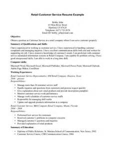 Retail Customer Service Resume Exles by Retail Customer Service Resume Resume Format