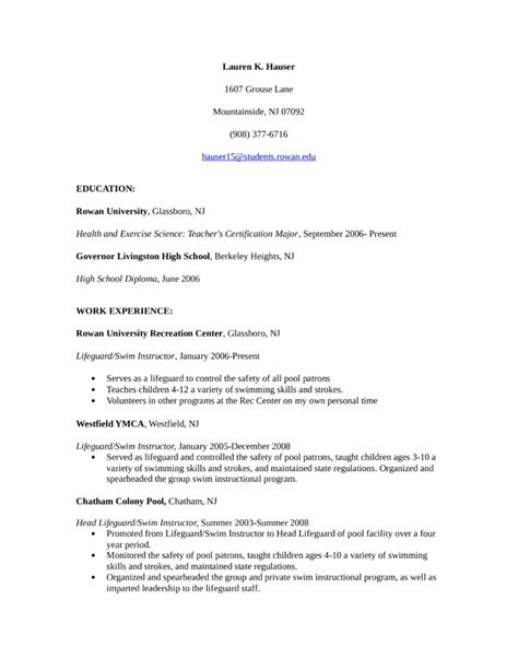 9 Best Lifeguard Resume Sle Templates Wisestep Instructor Resume Template