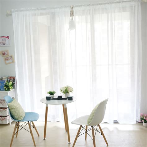pure curtains pure striped white color sheer curtains