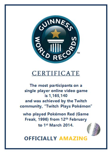 world record certificate unofficial twitchplayspokemon