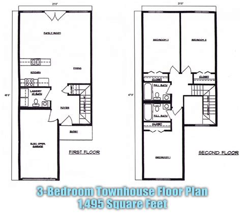 townhouse floor plans 3 bedroom 2 picture to pin on