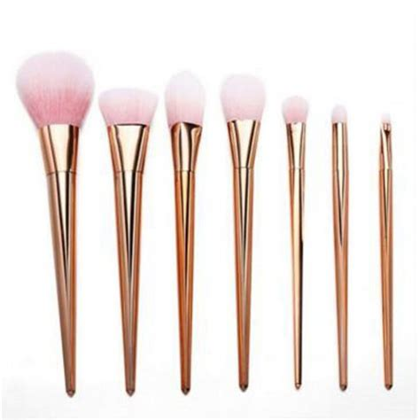 Makeup Brush Rosegold Brushes 7 Pcs lydia 7pcs gold essential makeup brush set