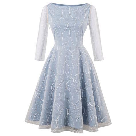 light blue swing dress women s light blue vintage 3 4 length sleeve floral mesh