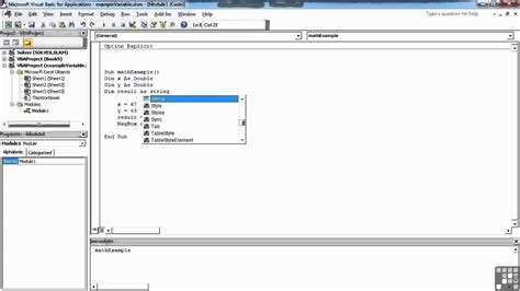 tutorial visual basic in excel visual basic for excel tutorial declaring variables and