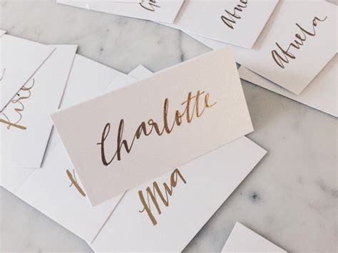 Name On Card Gift Card - custom hand drawn metallic gold lettering sign name cards tags place card