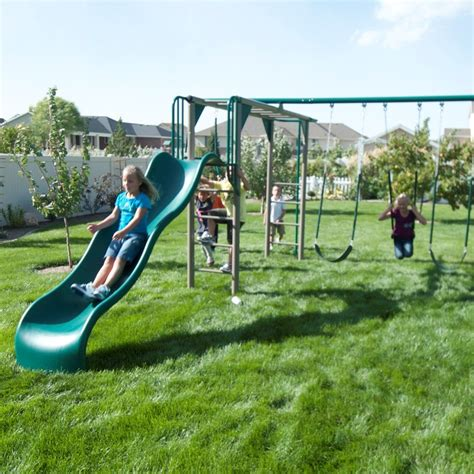 backyard swing set ideas exterior awesome plastic swing sets clearance ideas with grass spread for your