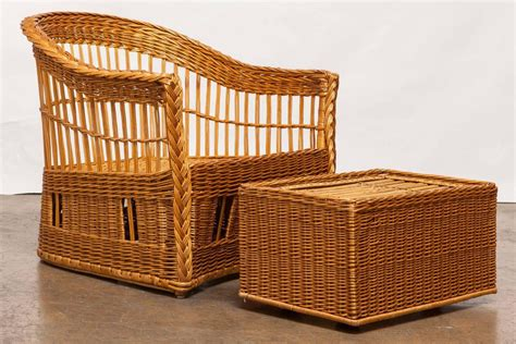 rattan armchair and ottoman pair of mcguire rattan and wicker club lounge chairs and