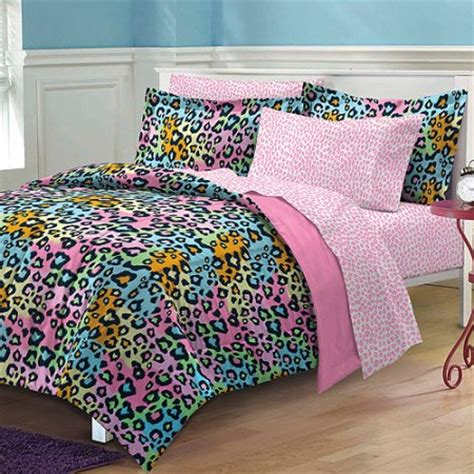Leopard Bedding Set My Room Neon Leopard Complete Bed In A Bag Bedding Set Pink Multi Walmart