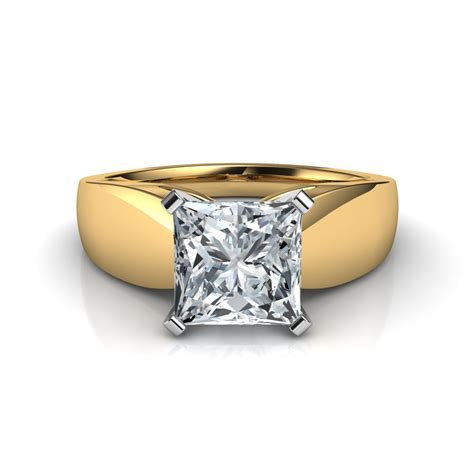1 25 ctw wide band princess cut engagement ring in