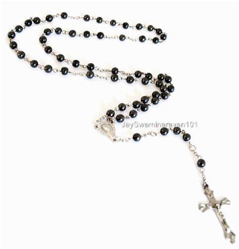 rosary chain for jewelry black hematite beaded chain rosary necklace cross 28 quot ebay