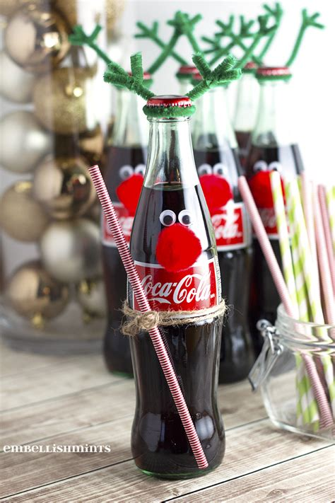easy holiday gifts for coworkers cherry coke poke cake and easy coke bottle reindeer embellishmints