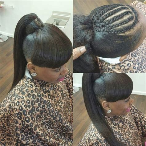 braids with a weave bang different hairstyles for weave ponytail with bangs