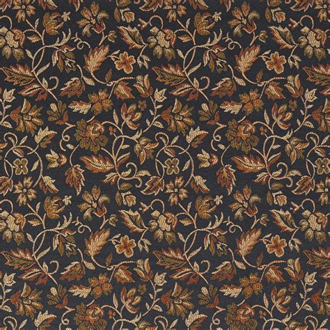 black drapery fabric black gold green orange floral damask upholstery and