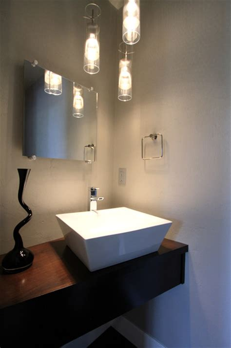 powder room sinks modern powder bathroom with floating cabinet vessel sink