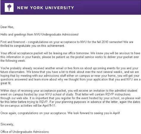 New York College Letters Of Recommendation Requirements Nyu Acceptance Letter Levelings