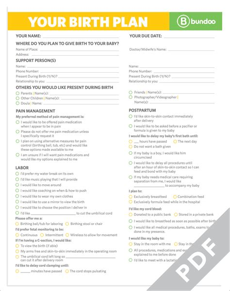 Here S A Printable Birth Plan That Your Doctor Will Be Happy To Follow Planning Ahead Will Baby Birth Plan Template