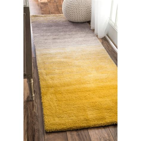 Ombre Runner Rug Nuloom Handmade Soft And Plush Ombre Shag Yellow Runner Rug 2 6 X 8 Free Shipping Today