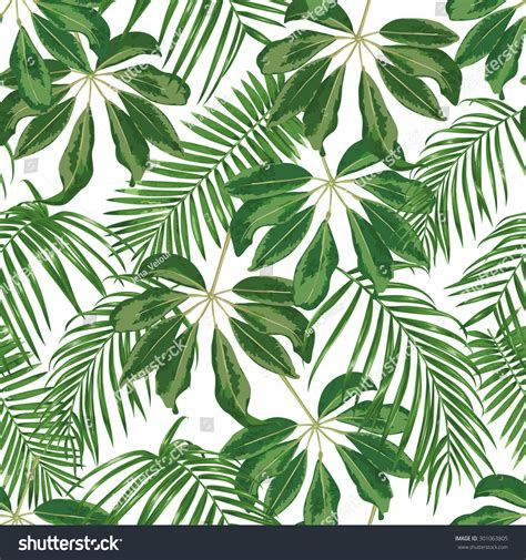 jungle pattern vector tropical leaves dense jungle seamless detailed stock