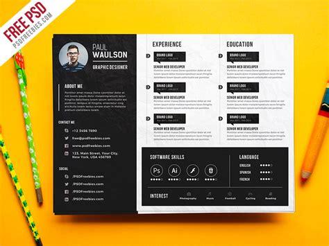 Creative Resume Brochure by Creative Horizontal Cv Resume Template Psd Psdfreebies