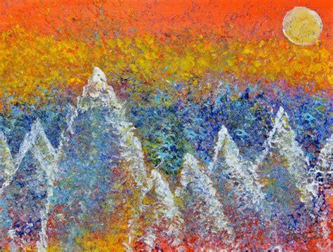 Blue Mountain Acrylic Painting Using An Sponge