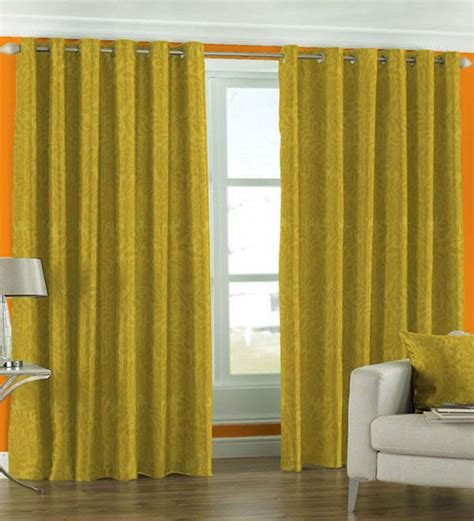 mustard curtain panels skipper mustard yellow leaf motif door curtain 7 ft by
