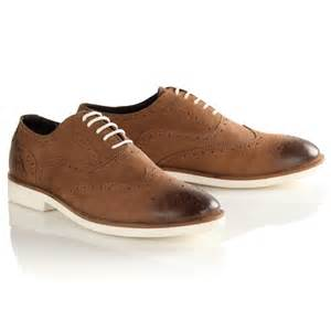 mens brown leather suede brogue shoes